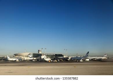 TEL AVIV - JUN 8: Israeli commercial passenger jet airplanes belonging to the Israeli 'El-Al' aviation company, parked at Ben-Gurion airport in the early morning on June 8 2012 in Tel Aviv, Israel.