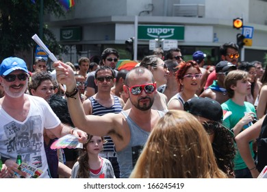 TEL AVIV - JUNE 9: street scene during Annual Gay Pride Parade June 9, 2013 in Tel Aviv, Israel.