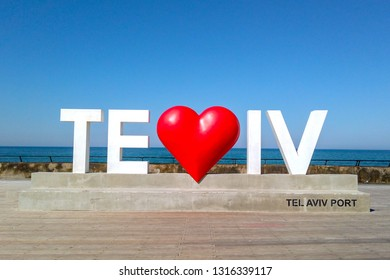 Tel Aviv love sign - 3D Love symbol and letters at the City port.