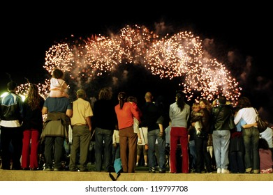 TEL AVIV - MAY 17 2006: French pyrotechnic giant Group F lit up Tel Aviv's promenade with fireworks in Tel Aviv, Israel.About 250,000 people gathered on the beachfront to watch the 20-minute display.