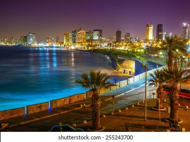 Tel Aviv. Night view from Jaffa