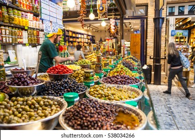 Tel Aviv - Nov 25: Black and green olives in Sarona market, Tel Aviv - Jaffa, Israel, November 25, 2016