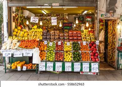 Tel Aviv - November 22: Vegetable and fruit market on the street, Tel Aviv - Tel Aviv, Israel, November 22, 2016