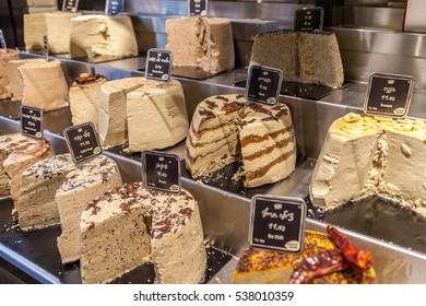 Tel Aviv - November 25: Halva, oriental sweets on Sarona market - Tel Aviv - Jaffa, Israel, November 25, 2016