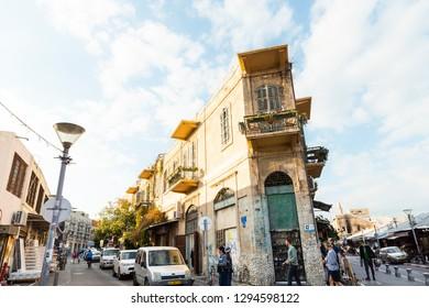 Tel Aviv, Old Jaffa, Israel - December 23, 2018: A pretty, tiny corner old building in famous flea market in Old city of Jaffa, Tel Aviv, Israel