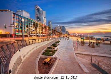 Tel Aviv Promenade. Image of Tel Aviv, Israel during sunset.