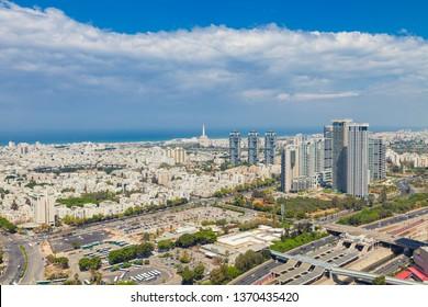 Tel Aviv Skyline Aerial View,  Tel Aviv Cityscape  At Day, Israel