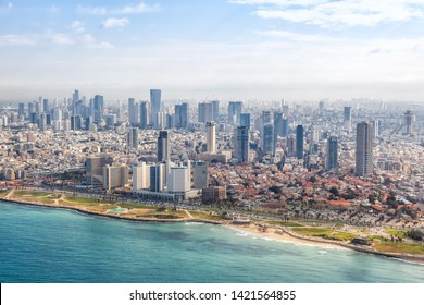 Tel Aviv skyline beach aerial view photo Israel city Mediterranean sea skyscrapers photography