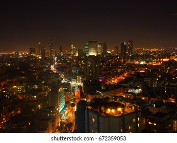 The Tel Aviv skyline at night