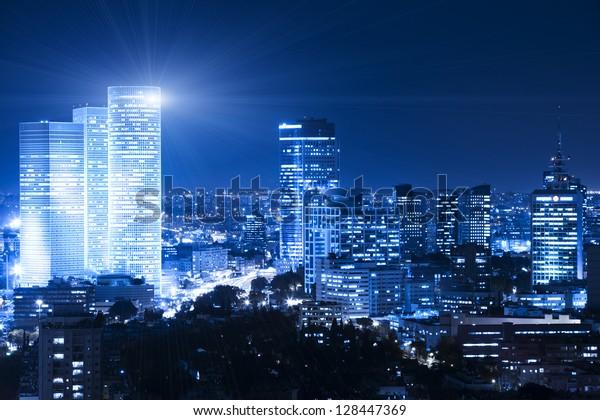 Tel Aviv Skyline at night - Building Lights