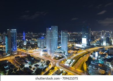 Tel Aviv Skyline At Night, Skyscraper and Ayalon Freeway