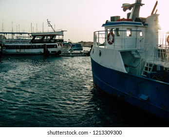 Tel Aviv Yafo Israel October 25, 2018  View of boats in the Old Jaffa port, One of the oldest known harbors in the world located in the southern part of Tel Aviv in the afternoon