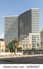 TEL AVIV,ISRAEL - AUGUST 05, 2014: Five-star hotels on the waterfront Taelet the Mediterranean Sea. Tel Aviv, Israel.