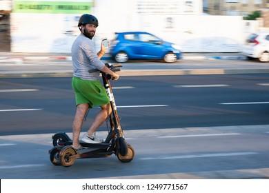 Tel aviv/Israel November 7, 2018 Bird Electric Ride Sharing Scooters