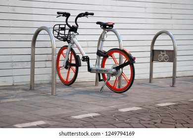 Tel aviv/Israel November 7, 2018 Mobike Bike Sharing Service Row of Bikes