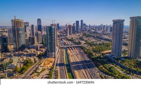 Tel Aviv-Ramat Gan city center aerial drone view, Tel Aviv - Israel: 22.05.2019