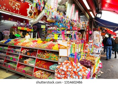 Tel Aviv-Yafo, Carmel Market, Israel - December 28, 2018: A Candy shop sells a great variety sweets and treats at the famous Carmel Market in Tel Aviv-Yafo , Israel