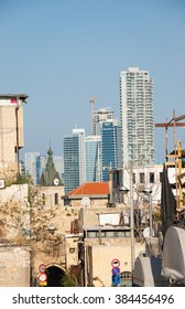 TEL AVIV-YAFO, ISRAEL - FEBRUARY 18, 2014: Tel Aviv skyline. View from Old Jaffa on Jaffa Clock Tower and modern skyscrapers at background.