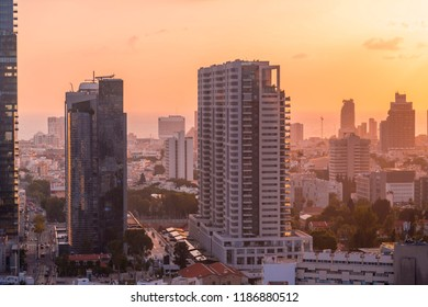 Tel Aviv-Yafo, Israel - June 12, 2018: Aerial view of the buildings and streets in Tel Aviv-Yafo, the cultural capital of the State of Israel.