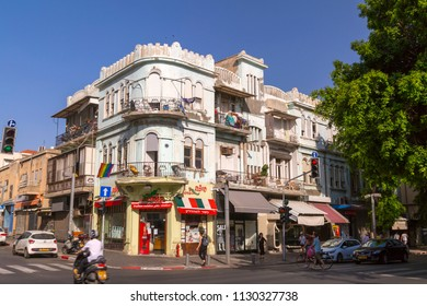 Tel Aviv-Yafo, Israel - June 8, 2018: Generic architecture and cityscape from Tel Aviv, Modern and old buildings in the central streets of Tel Aviv-Yafo, Israel.