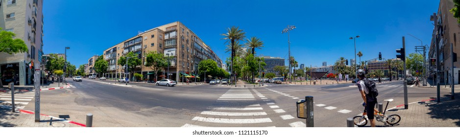 Tel Aviv-Yafo, Israel - June 9, 2018: Generic architecture and cityscape from Tel Aviv, Modern and old buildings in the central streets of Tel Aviv-Yafo, Israel. Panoramic view of Rabin Square.