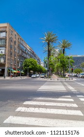 Tel Aviv-Yafo, Israel - June 9, 2018: Generic architecture and cityscape from Tel Aviv, Modern and old buildings in the central streets of Tel Aviv-Yafo, Israel. Rabin Square