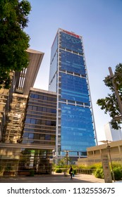 Tel Aviv-Yafo, Israel - June 9, 2018: Modern architecture in financial district of Tel Aviv. Business towers, office buildings around Ayalon Highway. Electra Tower.