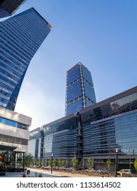 Tel Aviv-Yafo, Israel - June 9, 2018: Modern architecture in financial district of Tel Aviv. Business towers, office buildings around Ayalon Highway. Electra Tower