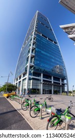 Tel Aviv-Yafo, Israel - June 9, 2018: Modern architecture in financial district of Tel Aviv. Business towers, office buildings around Ayalon Highway. Electra Tower and Tel-Ofan bikes
