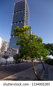 Tel Aviv-Yafo, Israel - June 9, 2018: Modern architecture in financial district of Tel Aviv. Business towers, office buildings around Ayalon Highway. Electra and Alon Towers