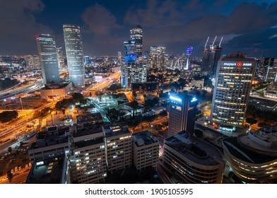 Tel Aviv-Yafo, Israel - September 23, 2020: Tel Aviv night downtown modern top view