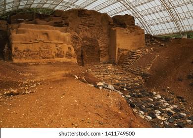 Tel Dan, Israel - January 20 2018: The Abraham Gate/Canaanite Gate at the ancient site of Tel Dan, Israel, from the left angle.