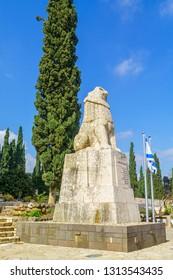 Tel Hai, Israel - February 12, 2019: View of the Roaring Lion Memorial in Tel Hai, Northern Israel