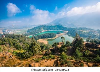 Telaga Warna Colour Lake in Dieng Wonosobo Indonesia