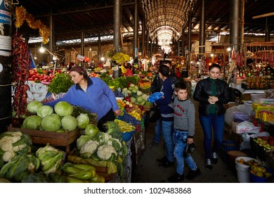 Telavi, Georgia - 10 17 2017: market hall with fresh vegetables and fruits