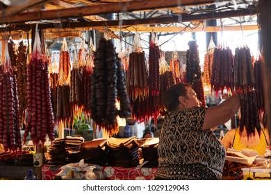 Telavi, Georgia - 20 08 2016: selling Georgian speciality Chutschrella in a Market stall in Telavi, Georgia
