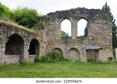 Telavi, Georgia - Jul 08 2018: Ikalto Monastery. a famous Historic site in Telavi, Kakheti, Georgia.