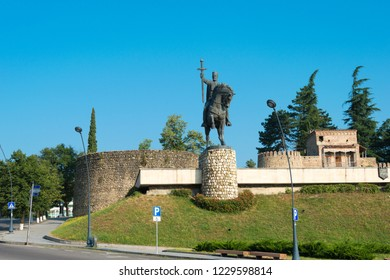 Telavi, Georgia - Jul 11 2018: Statue of Heraclius II at Telavi castle (Batonis Tsikhe Fortress). a famous Historic site in Telavi, Kakheti, Georgia.