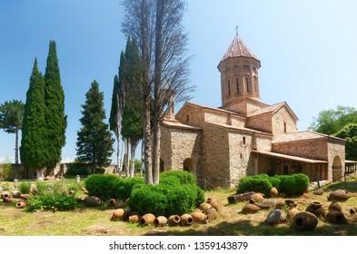 Telavi, Georgia - JUNE 15, 2018: Ikalto Monastery. a famous Historic site in Telavi, Kakheti, Georgia.