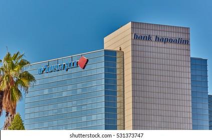 """Tel-Aviv - 4 December, 2016: Bank """"Hapoalim"""" head ofiice in Tel Aviv"""