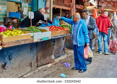 "Tel-Aviv - 4 December, 2016: The ""Carmel"" market in Tel Aviv with its visitors"