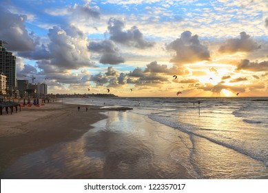 Tel-Aviv beach sunset view and kite surfing (Mediterranean sea. Israel)