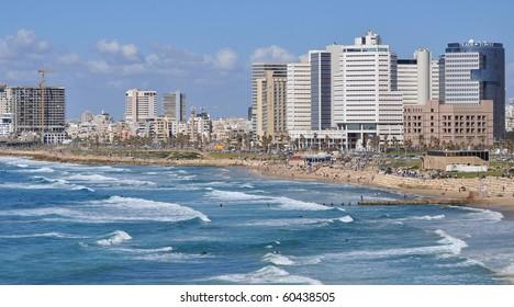 Tel-Aviv coast line as seen from old Jaffa. Israel.