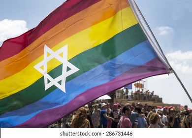 TEL-AVIV - ISRAEL 12 JUNE 2015: Jewish Pride rainbow flage at Tel Aviv Gay Pride parade