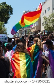Tel-Aviv, Israel - 14 June 2019: Gay pride parade in Tel-Aviv on a hot summer day, about 250,000 participated.