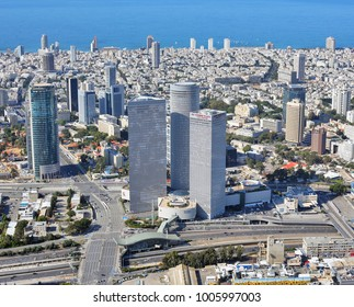 Tel-Aviv, Israel 1.7.2014 - Aerial View Of Azrieli Towers and Hashalom interchange during the winter at day time.