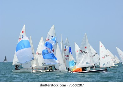 TEL-AVIV, ISRAEL - APRIL 14: Participants compete in the National Yacht Championship 2011 on April,14, 2011 in Tel-Aviv, Israel