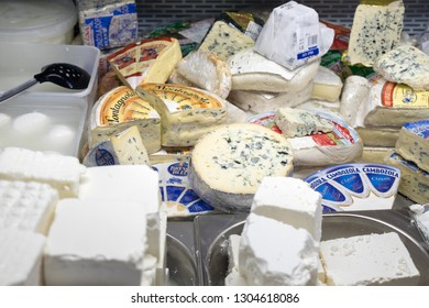 TEL-AVIV, ISRAEL - JANUARY 11, 2019: Assortment of different cheeses for sale