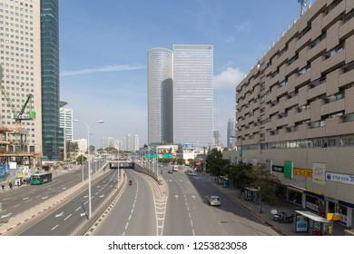 TEL-AVIV, ISRAEL - JANUARY 22, 2016: View from pedestrian bridge to  building number 116 on Menachem Begin street