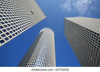TEL-AVIV, ISRAEL - JANUARY 27, 2008: Low angle view of Azrieli Center. The center opened to the public in 1999.